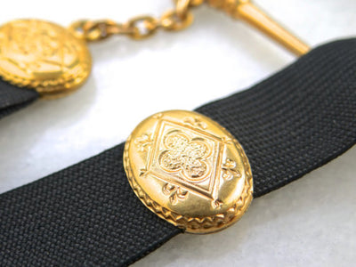 Victorian Mourning Gold Fill and Ribbon Pocket Watch Chain