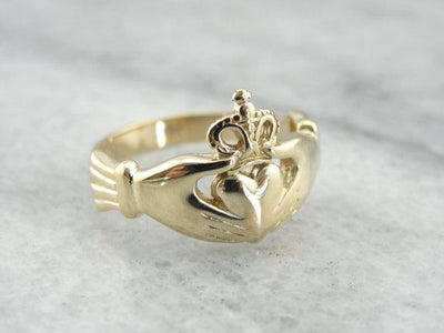14K Yellow Gold Claddagh Ring