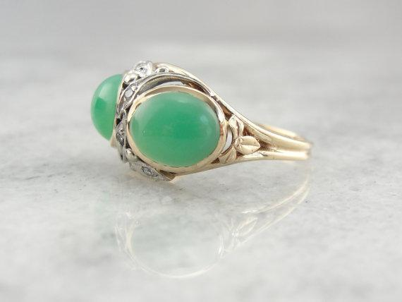 Retro Era Chrysoprase Botanical Cocktail Ring