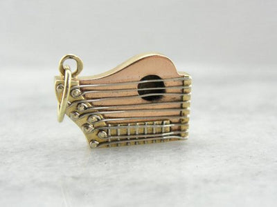 Exquisite 14K Rose Gold Harp Charm or Pendant