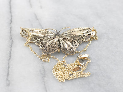 Vintage Filigree Butterfly Necklace