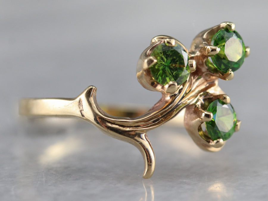 Vintage Gold Demantoid Garnet Ring
