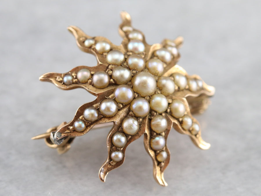 Antique Seed Pearl Starburst Brooch