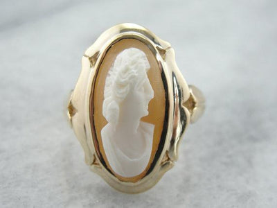 Long Oval Vintage Cameo Ring