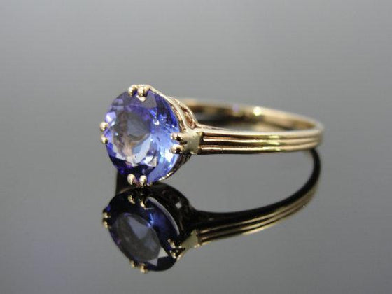 Antique and Modern Mix Yellow Gold Tanzanite Ring