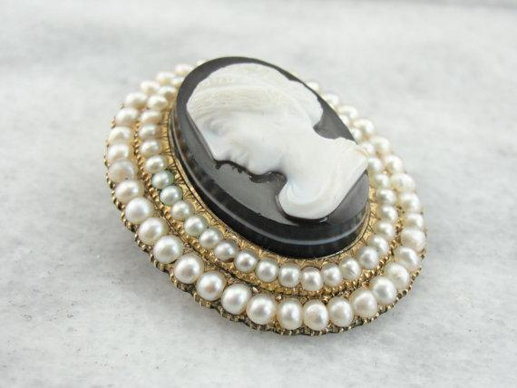 Victorian Mourning Cameo Seed Pearl Brooch