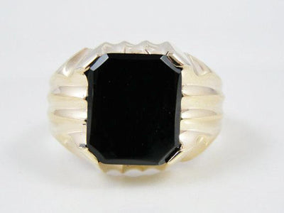 Mens Onyx and Gold Ring, Mid Century Modern