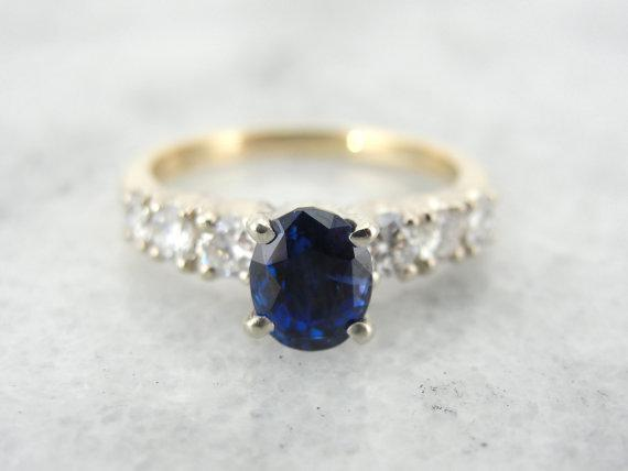Vintage Engagement Ring with Deep Blue Ceylon Sapphire