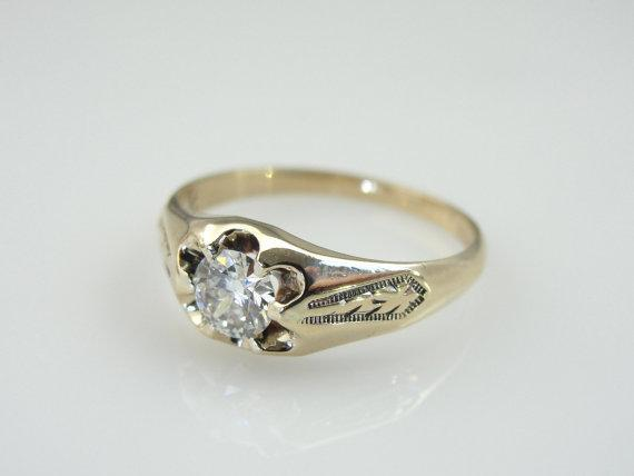 Victorian Diamond Solitaire Engraved Belcher Ring