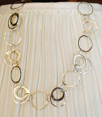 Modernist Gold Link Necklace, Circles and Links