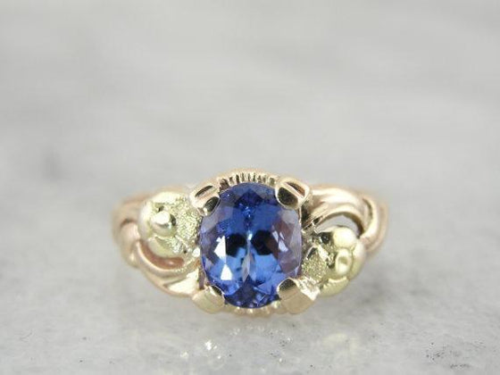 Antique Green and Yellow Gold Ladies Tanzanite Ring