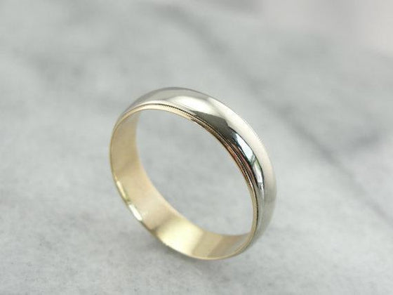 14K White and Yellow Gold Classic Wedding Band