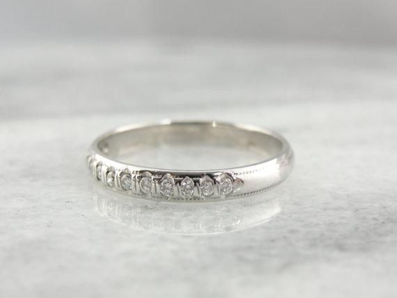 White Gold and Diamond Milgrain Edge Wedding Band