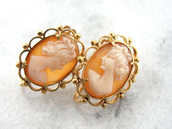 Cameo Earrings, Fine Shell, 18 Karat Gold Not Pierced -
