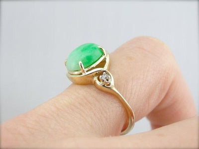 Ladies Jadeite and Diamond Cocktail Ring