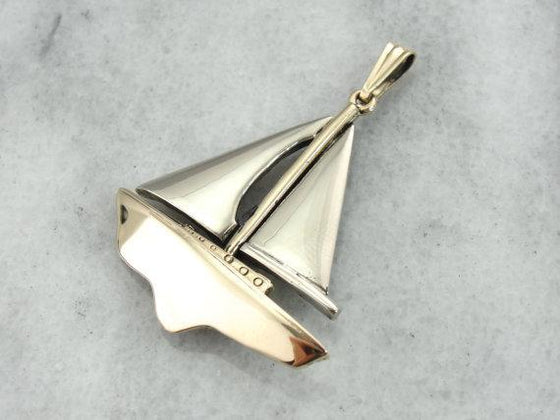 Sailboat Pendant in 14K Rose and White Gold