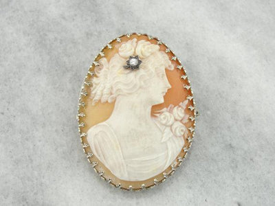 Antique Art Deco Cameo Brooch or Pendant with Diamond