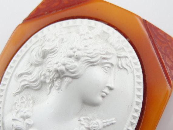 Large Bakelite Cameo Pin with Rare White Profile