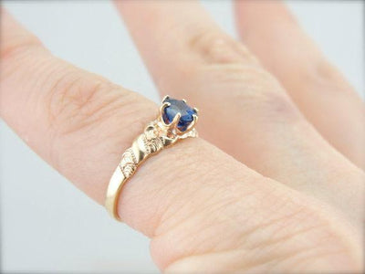 Sapphire  Rose Gold Victorian Engagement or Cocktail Ring