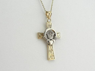 14K Gold Celtic Cross with White Gold Claddagh Center