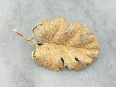 Grape Leaf Brooch with Hand Engraved Details