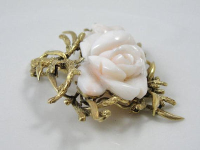 1900s Carved Angel Skin Coral Rose Brooch