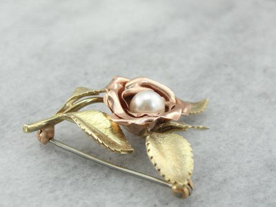 Green and Pink Gold Rose Brooch with Pretty Pearl Center