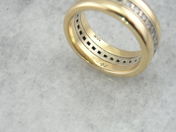 1940's Two Toned Gold Diamond Wedding Band