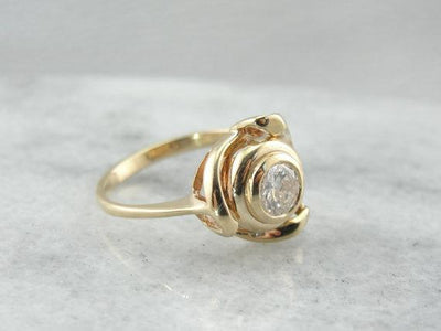 Vintage Modernist Diamond and Yellow Gold Cocktail Ring