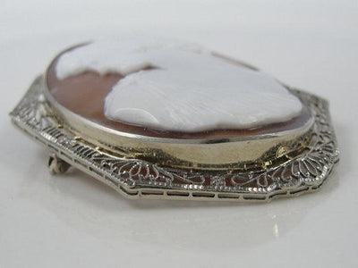 White Gold FIligree Art Deco Cameo Pin