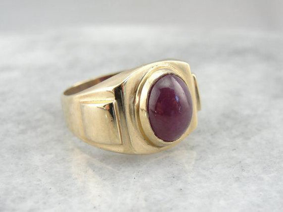 Classic Retro Mens Ruby and Gold Ring