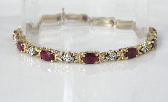 Ruby Bracelet with Bright Diamond Accents