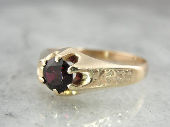Blood Red Ant Hill Garnet Victorian Ring