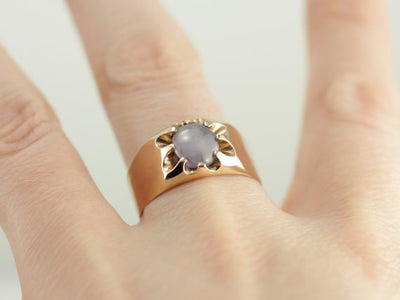 Mens or Ladies Star Sapphire in Victorian Gold Mounting