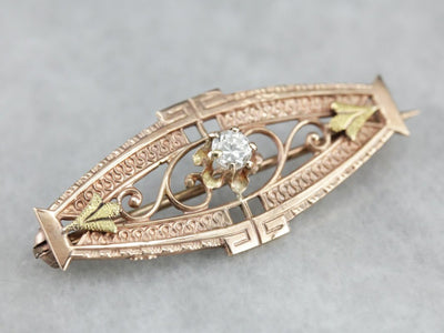 Vintage Die Stamped Filigree Gold Diamond Bar Pin