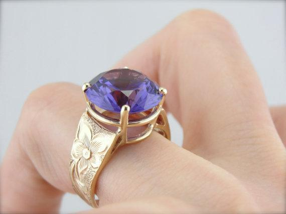 Victorian Synthetic Alexandrite Cocktail Ring