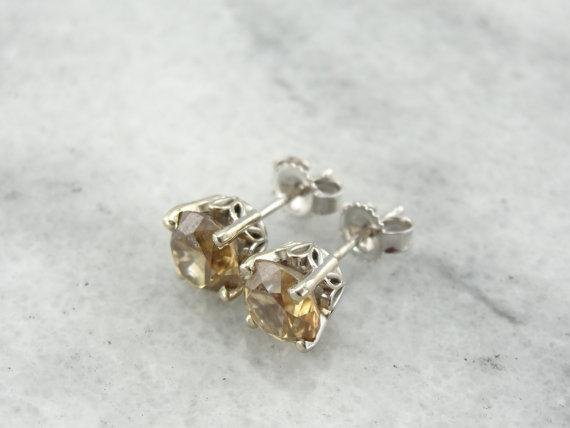 Champagne Zircon Earrings with Filigree Frame