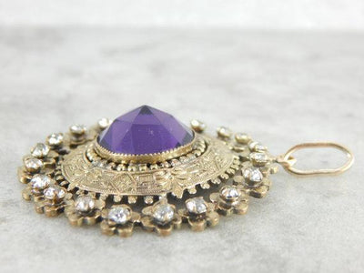 Antique Brass and Glass, Foil Back Rhinestone Pendant