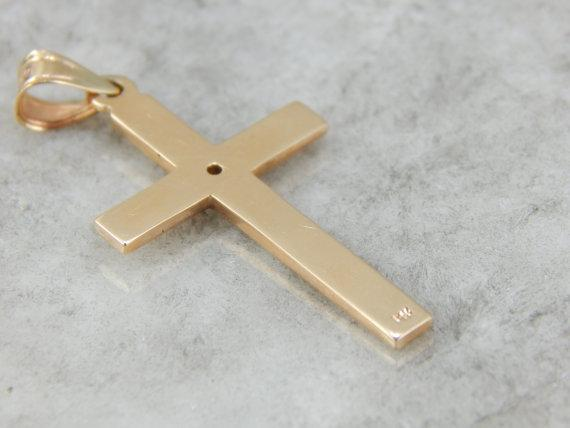 Art Deco Ladies Cross Pendant in Yellow and White Gold