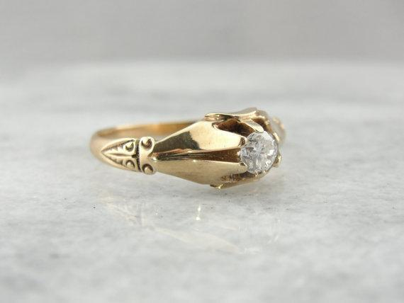 Antique Victorian Engagement Ring with Transition Cut Diamond