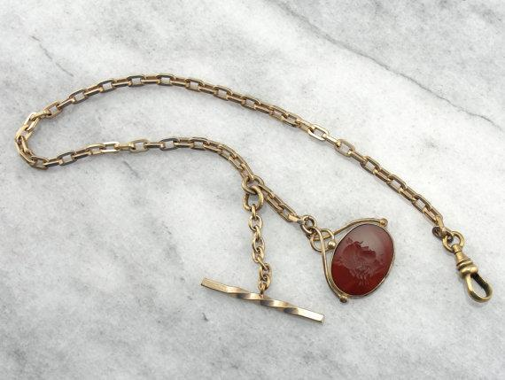 Necklace or Pocket Watch Chain with Carnelian Intaglio Fob