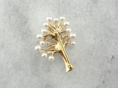 Pearl and 14K Yellow Gold Tree Brooch