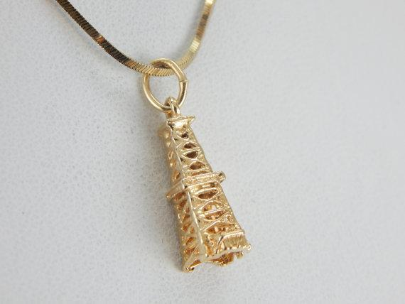 Gold Oil Rig Charm in Vintage Yellow Gold