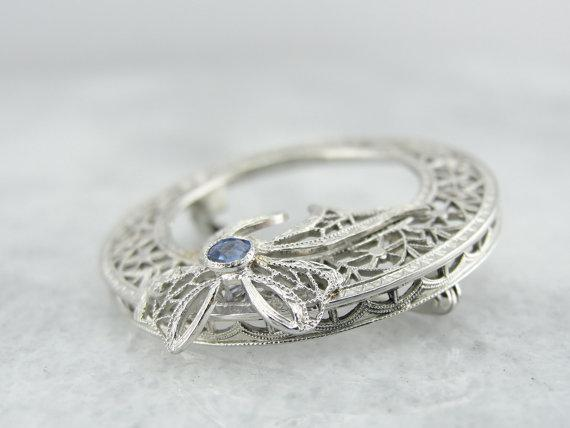 14K White Gold Filigree Circle Pin with Sapphire Accent,