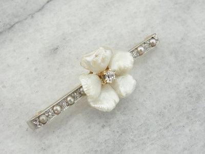 Diamond and Pearl Blossom Brooch