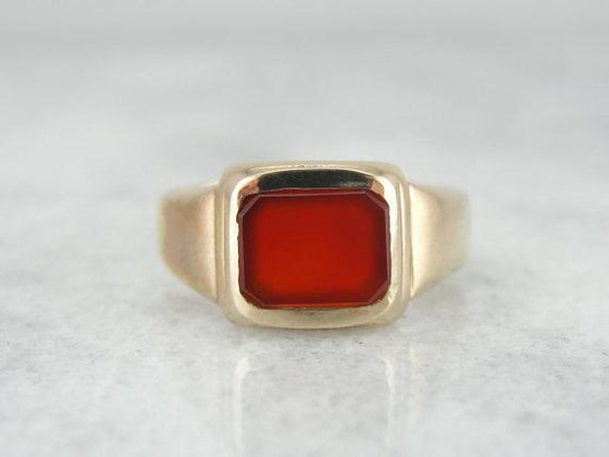 Classic Men's Ring with Carnelian Center