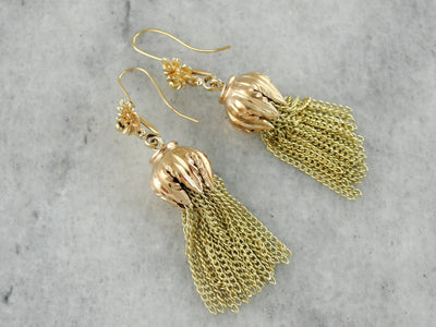 Golden Tasseled Drop Earrings