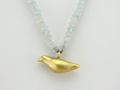 Sweet Gold Blue Bird and Branch Aquamarine Beaded Necklace