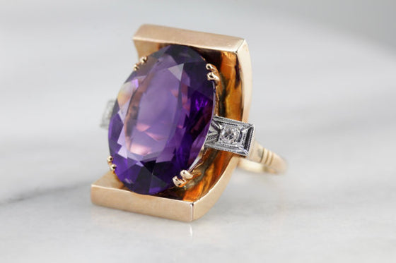 1940's Retro Era, Natural Amethyst, Fine Gemstone Statement Ring