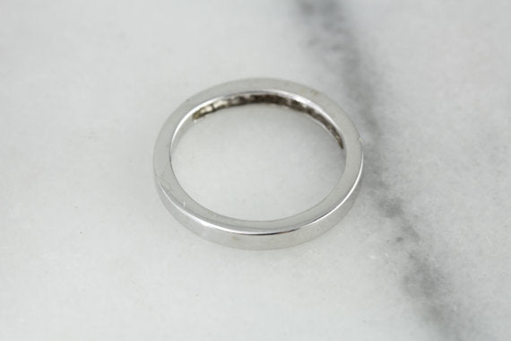 Pave Set Diamond White Gold Wedding Band